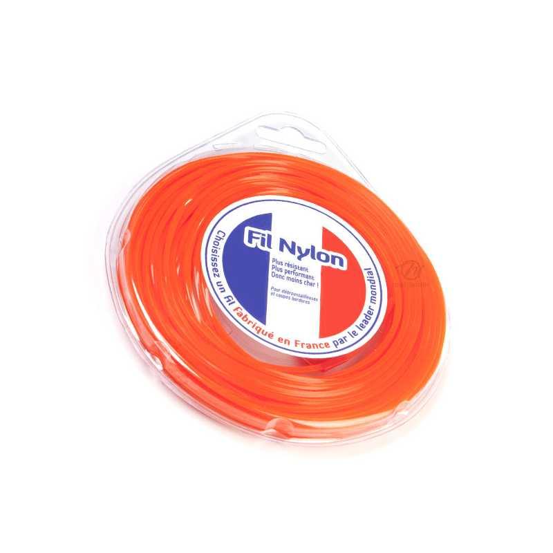 Fil d broussailleuse nylon 2 4 mm x 9 m carr orange for Cuisine 9 m carre