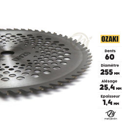 Lame disque carbure tungstène 60 dents débroussailleuse. Osaki Ø 255 mm. Alésage 25,4mm.